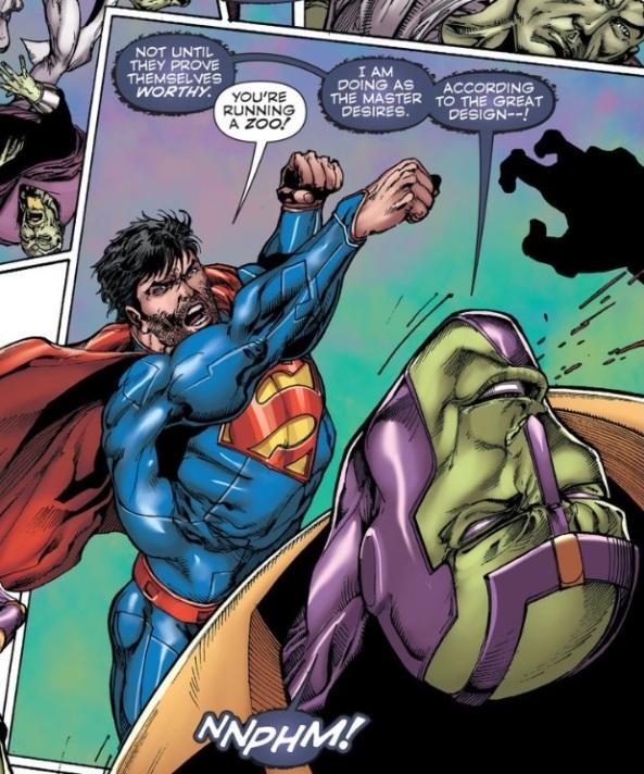 Superman punches Brainiac