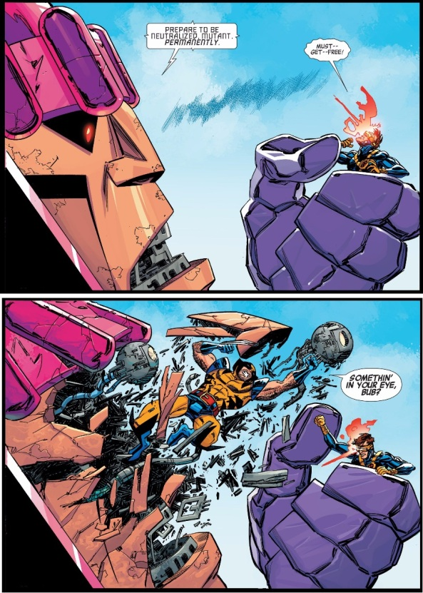 Wolverine breaks through a sentinel's face