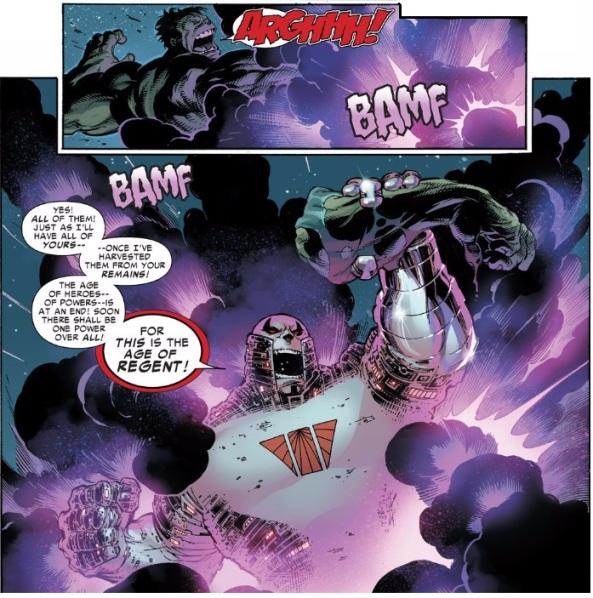 Hulk lose and arm to BAMFing Regent