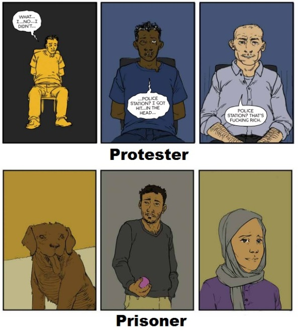 protester and prisoner colors