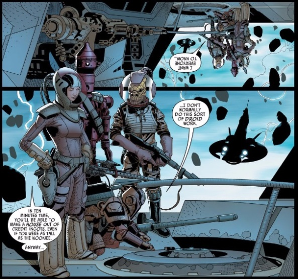 Bossk and IG-90, Beebox and Dr. Aphra board the ship