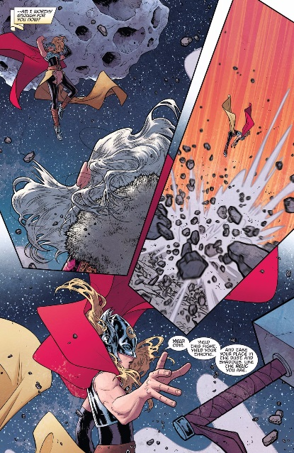thor throws an asteroid