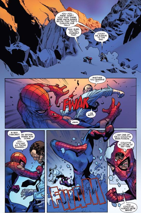 Osborn socks Peter Parker